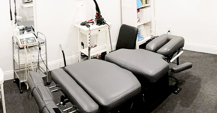 Treatment, Examination, Avg 12 adjustments (Full Spine), Decompression Table, Electric stimulation & Heat therapy, Mechanical traction & X-ray or MRI review